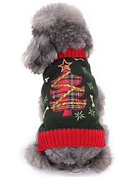 cheap -Cat Dog Sweater Winter Dog Clothes Gray Costume Acrylic Fibers Floral Botanical Fashion Christmas XS S M L XL