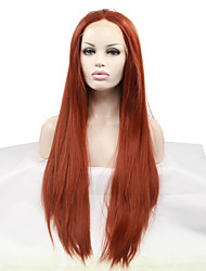 cheap -Synthetic Lace Front Wig Straight Straight Middle Part Lace Front Wig Medium Length Long Auburn Synthetic Hair 18-26 inch Women's Heat Resistant Natural Hairline Red