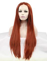 Недорогие -Синтетические кружевные передние парики Прямой Стиль Средняя часть Лента спереди Парик Темно-рыжий Искусственные волосы 18-26 дюймовый Жен. Жаропрочная Природные волосы Красный Парик Средние Длинные