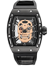 cheap -Men's Sport Watch Skeleton Watch Military Watch Quartz Silicone Black Water Resistant / Waterproof Noctilucent Cool Analog Charm Vintage Casual Skull Bangle - Black Rose Gold Two Years Battery Life