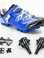 cheap -SIDEBIKE Adults' Cycling Shoes With Pedals & Cleats Mountain Bike Shoes Carbon Fiber Cushioning Cycling Blue Men's Cycling Shoes / Breathable Mesh