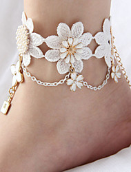 cheap -Women's Barefoot Sandals Alphabet Shape Flower Crown Fashion Bridal Lace Anklet Jewelry White For Wedding Party Halloween Daily Casual