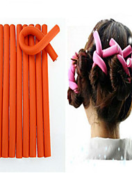 cheap -10 Pcs/Set Soft Hair Curler Roller Curl Hair Bendy Rollers Diy Magic Hair Curlers Tool 24*1.2Cm  Random Colors