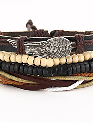 cheap -Men's Women's Wrap Bracelet Wings Vintage Gothic Leather Bracelet Jewelry Black For Special Occasion Gift