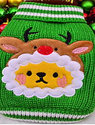 cheap -Dog Sweater Dog Clothes Cartoon Red Green Cotton Costume For Winter Men's Women's Christmas