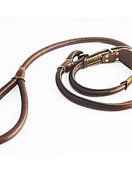 cheap -Dog Collar Leash Adjustable / Retractable Solid Colored Genuine Leather Brown
