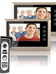 Недорогие -Mountainone 7-дюймовый видеодомофон двери домофон комплект системы 1-камера 2-мониторы ночного видения