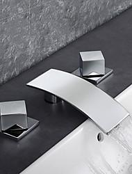 cheap -Bathroom Sink Faucet - Waterfall / Rain Shower / Thermostatic Chrome Deck Mounted Three Holes / Two Handles Three HolesBath Taps