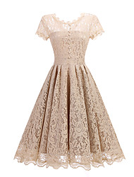 cheap -Women's Lace Going out Sophisticated A Line Dress - Solid Colored Lace Summer Black Wine Apricot S M L XL
