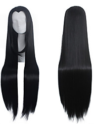 cheap -new beauty natural black straight widow s peak long length cospaly wig Halloween