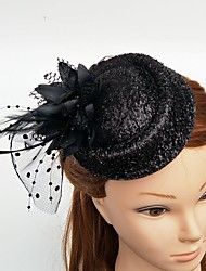 cheap -Tulle / Feather Fascinators / Hats / Headwear with Floral 1pc Wedding / Special Occasion / Horse Race Headpiece