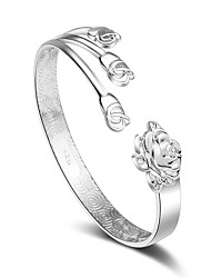 cheap -Women's Cuff Bracelet Handmade Silver Plated Flower Jewelry For Wedding Party Valentine