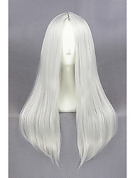cheap -medium long straight silvery white synthetic 24inch anime cosplay wigcs 234b Halloween