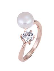 cheap -Women's Ring Cubic Zirconia White Rose Gold Pearl Zircon Geometric Unique Design Punk Hip-Hop Wedding Party Jewelry Logo / Alloy