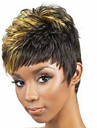 cheap -Synthetic Wig Curly Curly Wig Short Blonde Synthetic Hair Women's Black