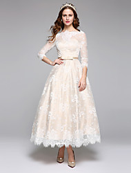 cheap -A-Line Bateau Neck Ankle Length Lace Over Satin 3/4 Length Sleeve Made-To-Measure Wedding Dresses with Lace / Sash / Ribbon 2020 / Illusion Sleeve