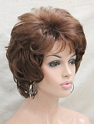 cheap -Synthetic Wig Curly Curly With Bangs Wig Short Medium Auburn Synthetic Hair Women's Side Part Brown