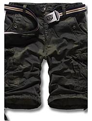 abordables -Homme Actif / Basique / Militaire Quotidien Droite / Short Pantalon - camouflage Eté Vert Vert Véronèse Kaki 34 36 38