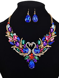 cheap -Women's Crystal Jewelry Set Necklace Earrings Pear Cut Swan Animal Rainbow Ladies Luxury Elegant Vintage Fashion Victorian Crystal Rhinestone Earrings Jewelry Rainbow For Wedding Party Daily Casual