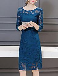 cheap -Lace Going out Sheath Dress Mesh Summer Blue Black Red