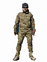 cheap -Men's Hiking Shirt with Pants Hunting Suit Outdoor Waterproof Breathable Wear Resistance Spring Fall Winter Clothing Suit Hunting Leisure Sports Military / Tactical Camouflage Green