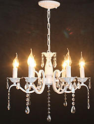 cheap -6-Light 48 cm Crystal / Mini Style / Candle Style Chandelier Metal Painted Finishes Modern Contemporary 110-120V / 220-240V