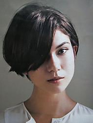 Недорогие -Человеческие волосы Парик Классика Естественные волны Классика Естественные волны Машинное плетение Черный Medium Auburn Повседневные