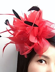 cheap -Feather / Net Fascinators / Flowers / Headwear with Floral 1pc Wedding / Special Occasion / Casual Headpiece