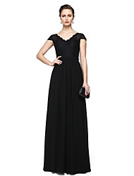 cheap -Sheath / Column V Neck Floor Length Chiffon / Lace Elegant / Minimalist Formal Evening / Wedding Party Dress with Lace Insert 2020