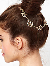 cheap -1 Pcs Metal Chain Leaves Combs Accessories Leaves Double Inserted Comb Hair Band