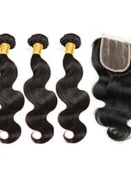 cheap -3 Bundles with Closure Brazilian Hair Body Wave Human Hair Natural Color Hair Weaves / Hair Bulk Human Hair Weaves Human Hair Extensions / 8A