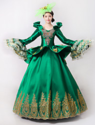 cheap -Princess Goddess Dress Cosplay Costume Masquerade Ball Gown Women's Rococo Medieval Renaissance Party Prom Christmas Halloween Carnival Festival / Holiday Lace Organza Green Women's Carnival Costumes