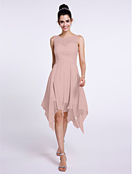 cheap -A-Line Scoop Neck Knee Length Chiffon Bridesmaid Dress with Criss Cross