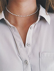 cheap -Women's Obsidian Choker Necklace Single Strand Personalized Basic Simple Style Fashion Imitation Pearl White Necklace Jewelry For Party Special Occasion Business Daily Casual Sports