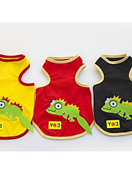 cheap -Dog Vest Dog Clothes Cartoon Black Yellow Red Cotton Costume For Spring &  Fall Men's Women's Casual / Daily Fashion
