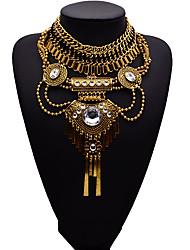 Недорогие -Жен. Заявление ожерелья Мода Euramerican Синтетические драгоценные камни Сплав Золотой Серебряный Ожерелье Бижутерия Назначение Для вечеринок Подарок