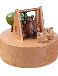cheap -Music Box Toys Cylindrical Wood Pieces Unisex Gift