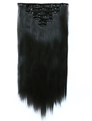 cheap -7pcs/Set 130g Dark Brown Straight 50cm Hair Extension Clip In Synthetic Hair Extensions
