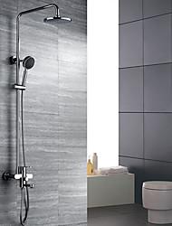 cheap -Shower Faucet - Art Deco / Retro Chrome Wall Mounted Ceramic Valve Bath Shower Mixer Taps / Brass / Two Handles Three Holes