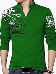 Недорогие -Муж. Большие размеры С принтом Футболка - Хлопок На каждый день Богемный Шинуазери (китайский стиль) Повседневные Спорт Праздники Воротник-стойка Черный / Красный / Зеленый / Серый / Длинный рукав