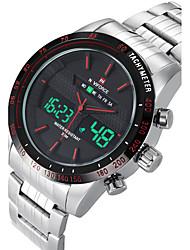 cheap -NAVIFORCE Men's Sport Watch Wrist Watch Quartz Digital Stainless Steel Silver Calendar / date / day Dual Time Zones Cool Analog Luxury Casual Fashion - White Orange Red
