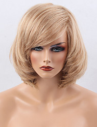 cheap -Human Hair Capless Wigs Human Hair Natural Wave Bob / Short Hairstyles 2019 / With Bangs Side Part Short Machine Made Wig Women's