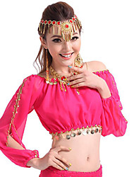 cheap -Belly Dance Tops Women's Performance Chiffon Sequin Long Sleeves Top