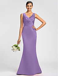cheap -Mermaid / Trumpet V Neck Sweep / Brush Train Satin Bridesmaid Dress with Sash / Ribbon / Criss Cross / Open Back