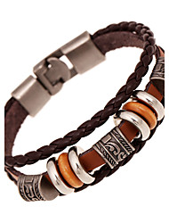cheap -Men's Leather Bracelet Twisted woven Natural Fashion Leather Bracelet Jewelry Brown For Special Occasion Gift Sports