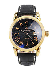 cheap -Men's Fashion Watch Mechanical Watch Quartz Automatic self-winding Leather Black / Silver 30 m Hot Sale Analog Charm - Gold Silver