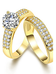 cheap -Women's Ring AAA Cubic Zirconia Gold Silver Imitation Pearl Zircon Copper Geometric Ladies Personalized Geometric Wedding Party Jewelry Crossover Solitaire Round Cut Friends Friendship Adorable