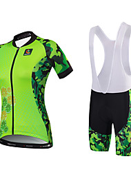 cheap -Malciklo Women's Short Sleeve Cycling Jersey with Bib Shorts Light Green Camo / Camouflage Plus Size Bike Jersey Bib Tights Clothing Suit Breathable Quick Dry Anatomic Design Reflective Strips Back