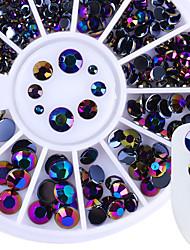 cheap -1 box 230pcs newly round nail rhinestones flat back acrylic uv gel decor manicure nail art decoration in wheel