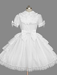 cheap -Princess Sweet Lolita Summer Dress Women's Girls' Cotton Japanese Cosplay Costumes White Solid Colored Bowknot Cap Sleeve Short Sleeve Short / Mini / High Elasticity